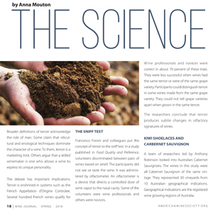 2018 Spring Journal of the American Wine Society article: The science of terroir by Anna Mouton.