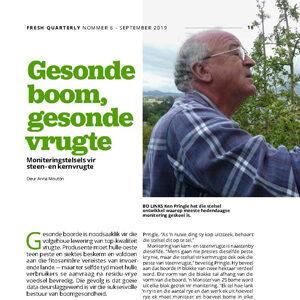 201909 Fresh Quarterly artikel. Gesonde boom, gesonde vrugte: moniteringstelsels vir steen- en kernvrugte deur Anna Mouton.